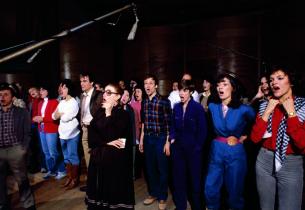 The cast in the studio