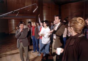 Joseph Bova, Karen Tamburrelli, James Congdon and Carole Cook during a break
