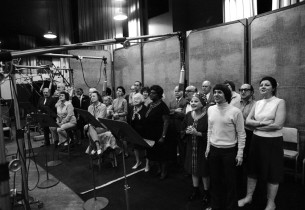 The cast in the recording studio (Photo: Don Hunstein)