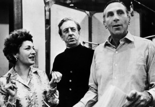 Eileen Herlie, Ray Bolger and record producer Goddard Lieberson (Photo: Don Huns