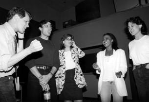 Jim Walton, Bob Cuccioli, Karen Mason, Brenda Pressley and Karen Ziemba recordin