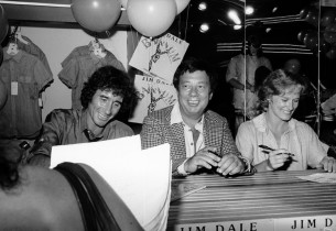 Jim Dale, Cy Coleman and Glenn Close (Photo: Don Hunstein)