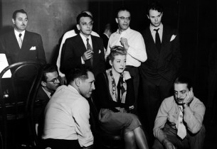 Listening to a playback, Alan Jay Lerner, Pamela Britton and Frederick Loewe, wi
