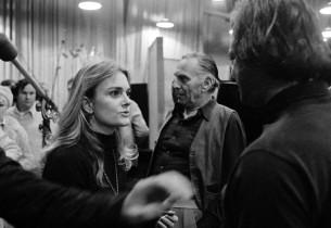 In the studio, D'Jamin Bartlett, Goddard Lieberson and Stephen Sondheim