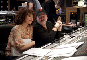 Janet Dacal and Frank Wildhorn at the mixing board (Photo:Jimmy Asnes)