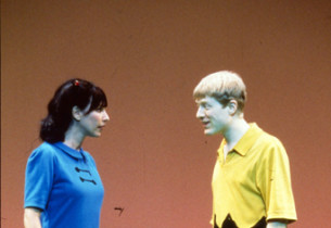 Ilana Levine (Lucy) and Anthony Rapp (Charlie Brown)